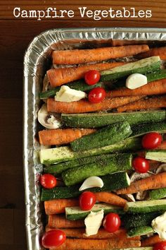 campfire vegetables-mushrooms, carrots, zucchini, and tomatoes