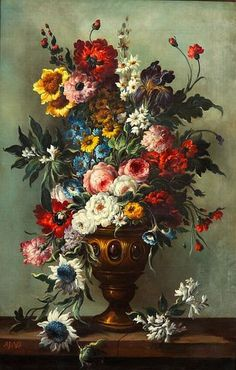 Adrien Joseph Verhoeven-Ball  Floral Still Life in Golden Urn  19th century