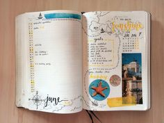 "journalsanctuary: "" June ☀️ Tried to turn my bullet journal into a pirate map. It didn't work out that well but hey, at least it's optimistic, as there's lots of yellow  """
