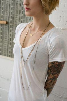 Image of Brass Sticks Necklace 1A30