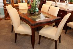 Dining Table w/ 2 Glass Inserts & 8 Chairs - Colleen's Classic Consignment, Las Vegas, NV - www.colleenconsign.com