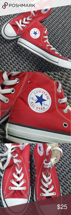 Womens red Converse high tops Gently used red high top Converse size 8 in  womens 6 bdbf0691c