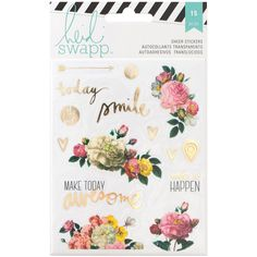 15 Piece Sheer Stickers with Romanic and Fresh Floral Patterns by Heidi Swapp