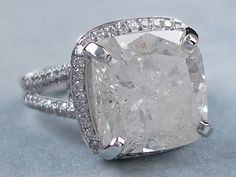 3.11 ctw Cushion Cut Diamond Engagement Ring. It has a stunning ...