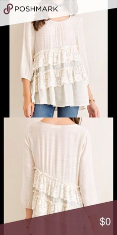 Coming Soon! CRINKLE TOP ASYMMETRICAL TIERING SOLID CRINKLE TOP ASYMMETRICAL TIERING Color:  Natural Solid crinkle top asymmetrical tiering with lace contrast, scoop neck with pin-tuck detailing Non-sheer. Unlined. Woven. Lightweight.   55%RAYON 45%POLYESTER Sawyer Tops Blouses