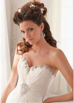 Magnificent Sweetheart Natural Full Length A-line Court Wedding Dresses