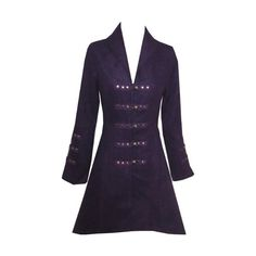 Long Gothic Purple flock Tail Coat size 16 XL Pretty Kitty Fashion ($14) ❤ liked on Polyvore featuring coats and indie hair