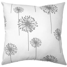 Dandelion Pillow Cover Gray and White Throw Pillow Gray Floral Accent... (13 CAD) ❤ liked on Polyvore featuring home, home decor, throw pillows, decorative pillows, home & living, home décor, pink, pink floral throw pillows, outdoor home decor and floral accent pillows