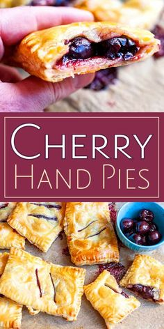 Cherry Hand Pies Store-bought puff pastry makes quick work of these sweet-tart cherry hand pies! Use fresh cherries when they're in season, or frozen during other times of the year. They're a great treat that's easy to share. Sweet Cherry Recipes, Cherry Desserts, Köstliche Desserts, Fruit Recipes, Delicious Desserts, Dessert Recipes, Cherry Recipes Using Fresh Cherries, Fresh Cherry Bars Recipe, Cherry Pie Frozen Cherries