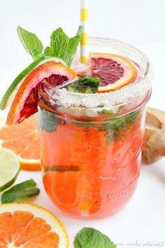 Blood oranges and a little mint make this Blood Orange Mojito beautiful and delicious. I'll be enjoying this easy mojito recipe all summer long. I might even try something different and make this my Cinco de Mayo drink! Cocktail Garnish, Cocktail Recipes, Cocktails, Cocktail Drinks, Cocktail List, Bar Drinks, Drink Recipes, Titos Vodka Recipes, Alcohol Recipes