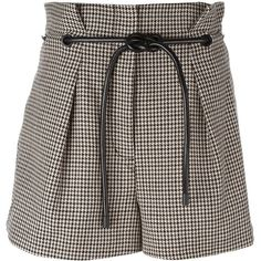 3.1 Phillip Lim origami pleat houndstooth shorts (9,080 MXN) ❤ liked on Polyvore featuring shorts, short, brown, origami shorts, brown shorts, high waisted pleated shorts, high rise shorts and patterned shorts