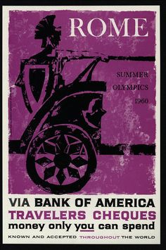 1960 BANK OF AMERICA Traveler's Cheques - Rome - Warrior On Chariot - VINTAGE AD | eBay