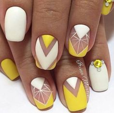 50 Geometric nail art designs for 2019 Geometric Nail Art designs are most popular nail designs aamong nail fashion because of the actuality that these Spring Nails, Summer Nails, Nail Art Jaune, Cute Nails, Pretty Nails, Yellow Nail Art, White Nail, Yellow Nails Design, Yellow Nail Polish