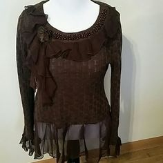 Embellished sweater Knit sweater embellished with beads and sheer ruffles zbo  Sweaters Crew & Scoop Necks