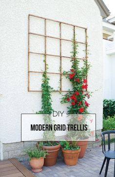 Learn exactly how to build a modern grid trellis for your outdoor space! Click for the tutorial.