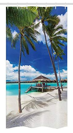 Ambesonne Idyllic Beach Setting With Empty Hammock Between Palm Trees With Vibrant Summer Sky Beach Shower Curtain - Shower Curtains Boutique Ocean Shower Curtain, Bathroom Shower Curtains, Bathroom Red, Beach Bathrooms, Summer Sky, Red Walls, Sea And Ocean, Inspired Homes, Beach Themes