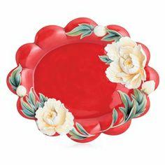 """Venice"" peony design sculptured porcelain large tray"