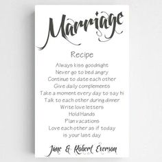 Recipe for Marriage Sign - Personalized Marriage Recipe Canvas Sign - Anniversary Gift - Wedding Sign - Couples Gift - Wedding Gift - Recipe For Marriage, Happy Marriage, Marriage Advice, Successful Marriage, Personalized Wall Art, Personalized Wedding, Dream Wedding, Wedding Day, Wedding Vows
