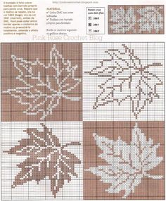 Maple Leaf Pattern ~ Counted cross stitch, or filet crochet. Cross Stitch Designs, Cross Stitch Patterns, Crochet Patterns, Cross Stitching, Cross Stitch Embroidery, Cross Stitch Pillow, Tapestry Crochet, Knitting Charts, Cross Stitch Flowers
