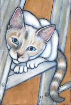 Pearl on a Ladder - Painting ©2002 by Heidi Shaulis -  Painting