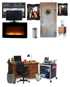 """This is jakes office"" by jritchie-1 ❤ liked on Polyvore featuring interior, interiors, interior design, home, home decor, interior decorating, DutchCrafters, Flash Furniture, Rolodex and Core Home"