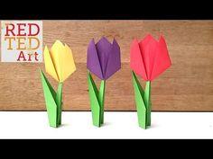 Jednoduché origami pre deti. Tieto tulipány zložené z papiera sú jednoduchým kreatívnym nápadom predeti aj dospelých, ktorí s origami práve začínajú. Farebné tulipány z papiera môžu zdobiť izbu vašich detíalebo môžu byť pripnuté na chladničke. Môžetena nich napísať blahoželanie a dať blízkej osobe alebo darovať maminke na deň matiek. Origami Simple, Easy Origami Flower, Easy Origami For Kids, Useful Origami, Origami Hearts, Origami Butterfly, Easy Paper Crafts, Diy Paper, Crafts For Kids