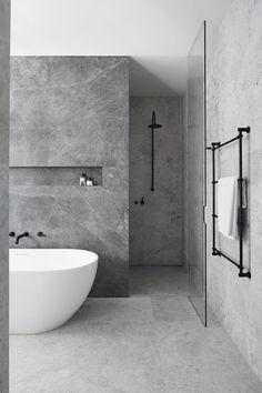 ideas bath room tiles black grey interior design for 2019 Contemporary Bathrooms, Modern Bathroom Design, Bathroom Interior Design, Modern Contemporary, Bath Design, Bathroom Designs, Modern Design, Minimal Bathroom, Small Bathroom