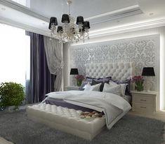 Ideas, Formulas and Shortcuts for Cozy White and Purple Bedroom Decor - decoruntold Luxury Bedroom Design, Master Bedroom Design, Dream Bedroom, Home Bedroom, Modern Bedroom, Bedroom Furniture, Interior Design, Bedroom Ideas, Bed Design