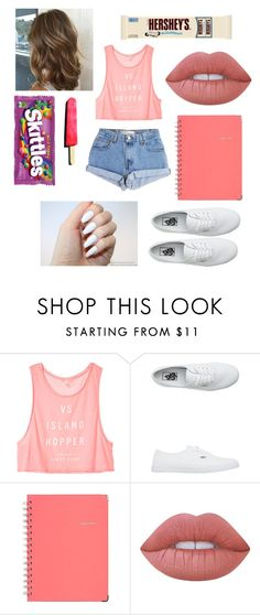 """Untitled #186"" by april262005-paris ❤ liked on Polyvore featuring Levi's, Victoria's Secret, Vans, Sugar Paper, Lime Crime and Hershey's"