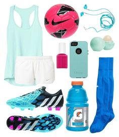 """Soccer practice"" by nazzbelle ❤ liked on Polyvore featuring Yurbuds, OtterBox, adidas, Athleta, NIKE, Essie, Eos and Puma"