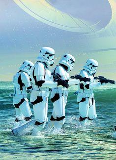 Star Wars *fun in the sun stormtroopers* Star Wars Film, Star Wars Fan Art, Star Wars Poster, Star Trek, Images Star Wars, Star Wars Pictures, Star Wars Brasil, Starwars, Star Wars Jewelry