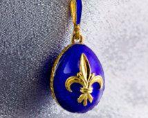 Jewelry Necklace/ Egg Pendant/ Fleur-de-Lis Pendant /Guilloche Royal Blue Enamel/ Sterling Silver /24 K Gold Plating/Unique Gift for Her