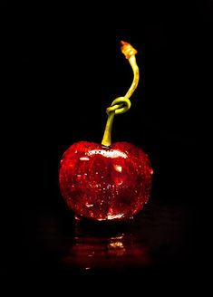 Deep red cherry, with the stem tied.) (My daughter can tie this in a knot with her tongue! Photo Fruit, Le Croissant, Fruit Photography, Simply Red, Foto Art, Cherry Red, Cherry Baby, Cherry Fruit, Shades Of Red