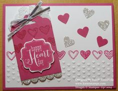 It's time to be making valentines! Of course you can use hearts any time of year, not just Valentine's Day. I used the Tags 4 You stamp set which is carried over from the 2013 Stampin' Up! Holiday Catalog and the new Language of Love stamp set. Love punching hearts with the heart punch!