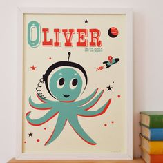 Personalised 'Outer space Octopus' Name Print, Letter O Print, Personalised Fun Print, New Baby Gift, Kids Space Print, Retro Octopus