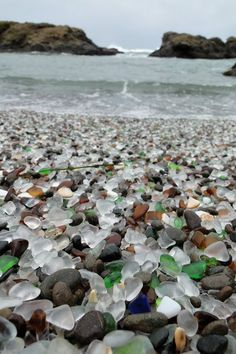 glass beach. The tides are always changing how the beaches look, but if you can happen to catch the right time it really looks like this! Amazing!