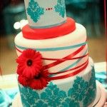 Cute cakes for teal and red wedding