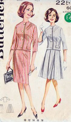 1960s Two Piece Dress Vintage Sewing Pattern