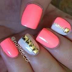 Neon pink white and gold glitter studded summer nailart