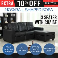 3 Seater L Shaped Black Sofa Leatherette Plastic Leg With Chaise Couch Nowra Leather Chaise Sofa, Chair Sofa Bed, Couch With Chaise, Lounge Couch, Couch Furniture, Couches, Cheap Sofa Sets, Cheap Sofas, White Lounge