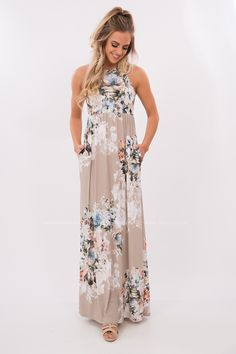 Easy Street Floral Printed Maxi Dress in Taupe