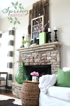 DIY ideas for Spring mantel decorating. Home decor and more from Refresh Restyle