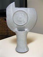 Vintage Ikebana Vase, Mid Century Mod, Gray, Multiple Openings, Maker Marked