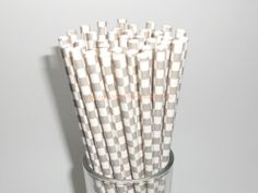 50 Grey and White Checkered Paper Straws-A great accent to any party decor! Made for those who love to make any occasion a little more special.