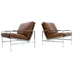 Fabricius & Kastholm FK Leather & Steel Lounge Chairs