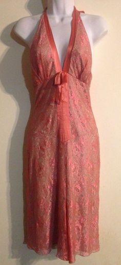 Alexia Admor New York Coral Lace Halter Dress Size Small #AlexiaAdmor #EmpireWaist #Cocktail