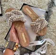 """""""kicked Up"""" detailed Chanel slides.she-ness on steroids.so You Girl! Cute Sandals, Cute Shoes, Me Too Shoes, Shoes Sandals, Shoes Sneakers, Beaded Sandals, Chanel Slides, Winter Mode, Crazy Shoes"""