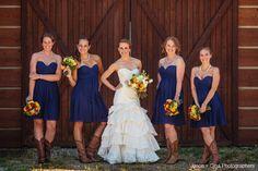 Love this rustic real Donna Morgan wedding featuring the Morgan in Midnight! #wedding #bridesmaids