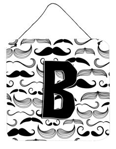 Letter B Moustache Initial Wall or Door Hanging Prints CJ2009-BDS66