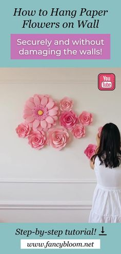 I'm sharing all my secrets, tips and tricks on how to hang paper flowers securely without damaging the walls. Let's hang up my new summer paper flower set together and I show you step by step how I hang my large paper flowers on wall, what I use for it! Watch the full step-by-step video tutorial by following the pin link. #paperflowers #diypaperflowers #paperflowerstutorial Hanging Paper Flowers, How To Make Paper Flowers, Paper Flowers Craft, Large Paper Flowers, Paper Flowers Wedding, Paper Flower Wall, Paper Crafts, Paper Dahlia, Paper Peonies